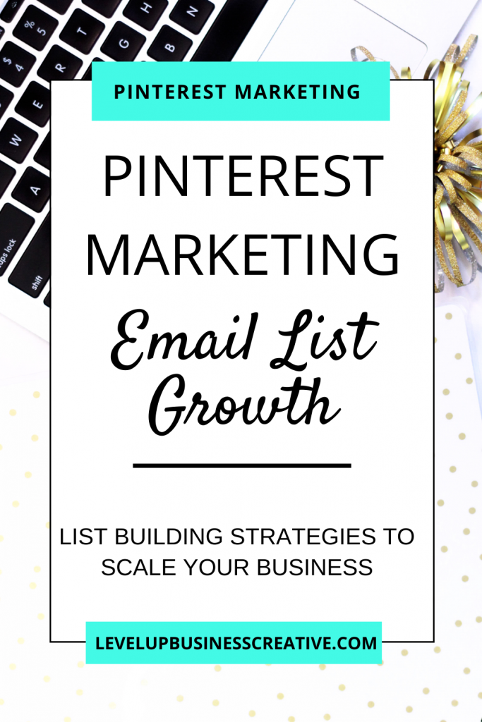 Pinterest marketing for email list building. Pinterest for business tips to grow your list. Learn top pinterest marketing strategies to help grow your audience. #pinterestmarketing #pinterestforbusiness #emaillistbuilding Click here for your FREE Pinterest kick start. Get your business on Pinterest today! https://levelupbusinesscreative.com/pin-power-profile-landing-page/